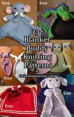 Knitting patterns for Lovey Blanket Buddies for babies also known as lovie, comfort blanket, blanket Baby Knitting Patterns, Baby Patterns, Free Knitting, Knitting Toys, Clothes Patterns, Loom Knitting, Knitting Stitches, Dress Patterns, Stitch Patterns