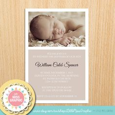 Personalized Baptism Invitation - Boys Girls Christening Invite - Birth Announcement • DIGITAL FILE•  6x4 or 5x7 Inch - Neutral Brown Taupe