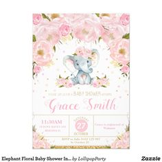 Shop Elephant Floral Baby Shower Invitation Girl created by LollipopParty. Personalize it with photos & text or purchase as is! Elephant Baby Showers, Elephant Nursery, Pink Elephant, Photos Booth, Diy Photo Booth, Photo Props, Minions, Elephant Birthday, Elephant Party