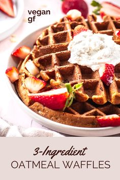 How to make the best vegan waffles! These Oatmeal Waffles are nice and crispy on the outside, and perfect for lazy weekend brunches or a healthy vegan breakfast. Made from whole food ingredients, they're also gluten-free too. Vegan Brunch Recipes, Waffle Recipes, Delicious Vegan Recipes, Pancake Recipes, Crepe Recipes, Oatmeal Waffles, Vegan Oatmeal, Waffel Vegan, Sans Gluten