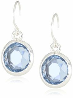 "Anne Klein ""Beacon"" Silver-Tone Blue Colored Drop Earrings Anne Klein. $18.00. Made in CN"