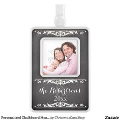 Personalized Chalkboard Monogram Family Name Photo Silver Plated Framed Ornament
