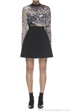 4f4afc3b1b1b A-line Long Sleeves Self Portrait Mixed Peony Mini Lace Dress Self Potrait