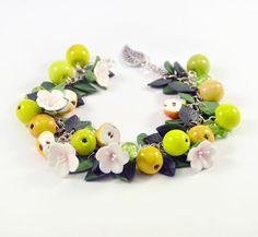 Apple cha cha charm Bracelet Polymer clay jewelry by PommeDeNeige