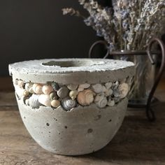 Concrete votive candle holder or succulent planter with shells