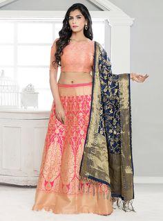 Pink Banarasi Silk A Line Lehenga Choli 118467