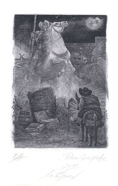 Don Quixote Bookplate by M Gruev for Zhang Tonsoi, 2013