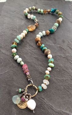 Your place to buy and sell all things handmade - Colorful multi charm necklace by mollymoojewels. A mix of semi precious beads, including moonstones - Bohemian Jewelry, Beaded Jewelry, Jewelry Necklaces, Handmade Jewelry, Beaded Bracelets, Tribal Jewelry, Leather Jewelry, Diy Collier, Multi Coloured Necklaces