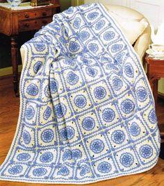 Blue Delft Afghan Crochet Pattern Blanket Throw Instructions #Vanna