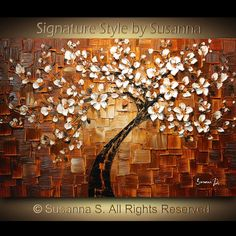 original abstract tree brown white cherry blossom impasto landscape textured modern palette knife painting ready to hang 36x24