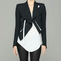 "Helmut Lang Black Moto ""Sugar"" Jacket ?? Edgy Helmut Lang asymmetrical hem, cropped ""Sugar"" jacket in black silk.? Sharp contrasting   eggshell white leather? trim   SIZE:2 '? CONDITION: Mint Condition! Helmut Lang Jackets & Coats"