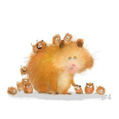 Wiebke Rauers Illustration - New Ideas Art And Illustration, Cute Animal Illustration, Cute Animal Drawings, Character Illustration, Cute Drawings, Character Design Cartoon, Whimsical Art, Cat Art, Illustrators