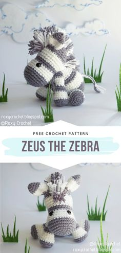 How to Crochet Zeus the Zebra - - Crazy Cute Amigurumi Animals are all set and ready to conquer the hearts of your children, relatives, and friends! Yes, they are adorable enough to make. Crochet Pony, Crochet Horse, Crochet Unicorn, Crochet Teddy, Cute Crochet, Crochet Elephant, All Free Crochet, Crochet Zebra Pattern, Crochet Dinosaur Patterns