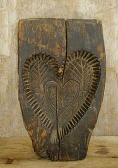 Eclectic ... like me: Carved wooden Springerle heart-shaped cake mold - antique - probably from the 18th century