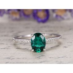 7x9mm Oval Cut Lab Emerald and Diamond Engagement Ring 14K White Gold Basket Halo Under