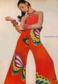 Vintage orange butterfly halter jumpsuit