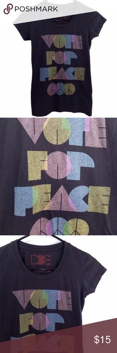 VOTE FOR PEACE! Urban Outfitters Shirt XS Tee DOE by Urban Outfitters   Size. XS (Fitted)  Condition. Well Loved Worn in Condition with Vintage Look  Materials Soft Light Weight Cotton/Poly Blend  // peacesign black tee top shirt hippie political cool casual hipster voting love  // Urban Outfitters Tops Tees - Short Sleeve