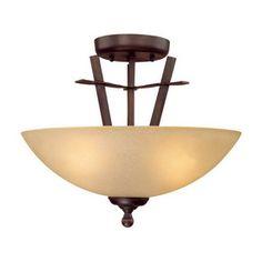 Millennium Lighting�15-in W Rubbed Bronze Semi-Flush Mount Ceiling Light