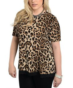 This Brown Leopard Short-Sleeve Top - Plus is perfect! #zulilyfinds