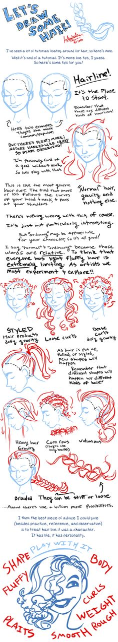Let's draw some hair by MistyTang.deviantart.com on @deviantART