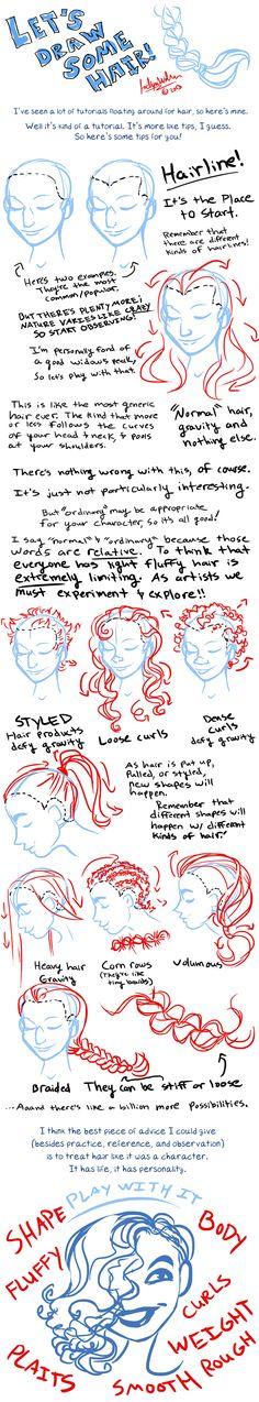 Let's draw some hair by MistyTang.deviantart.com on @deviantART