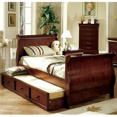 Solid Wood Louis Philippe Jr Dark Cherry Bed Frame w Trundle | eBay
