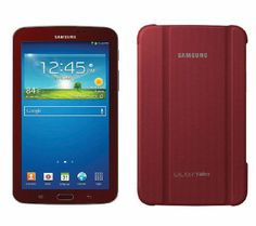 """Samsung Galaxy Tab3 Garnet Red 7"""" 8GB WiFi w/ Smart Cover & Tech Support - Whether at home or on the go, you can easily stay connected to a multitude of entertainment options with the SM-T210RGRSXAR Galaxy Tab 3 7.0 tablet! Retail Value: $386.00, QVC Price: $209.00 FEATURED PRICE: $189.96"""