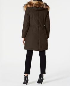Vince Camuto Hooded Faux-Fur-Trim Down Parka & Reviews - Coats - Women - Macy's Down Parka Women, Cold Weather Fashion, Plus Size Designers, Plus Size Shopping, Women's Socks & Hosiery, Fur Trim, Vince Camuto, Coats For Women, Work Wear