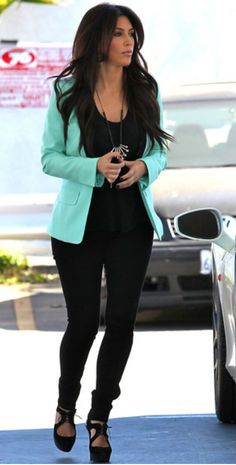 mint blazer $18 @meijer, I would wear my black wide leg dress pants since i'm short and more curvy :P
