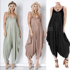 New Harem Oversized jumpsuit jumper black or sage ❌PRicE is firm unless bundled,COMMENT ON Color and SIZE availability ❌ New Harem jumpsuit jumper romper oversized dress.  Flowy and very comfy. Lightweight and stretchy fabric.  Black, and Sage green are available. ⭐️SMALL, MEDIUM AND LARGE Boutique Pants Jumpsuits & Rompers