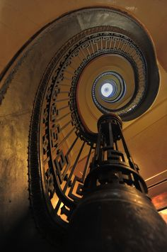 Stunning depictions of Staircases - Part 3 - Mechanics' Institute Library Spiral Staircase - San Francisco. Stairs And Staircase, Take The Stairs, Grand Staircase, Staircase Design, Spiral Staircases, Amazing Architecture, Art And Architecture, Architecture Details, Balustrades