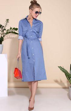 Удлиненное платье-рубашка из хлопка в мелкий горох TOP20 Studio / 2000001028100-0