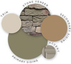 Mastic color palette, honed vitality, quest vinyl siding, cedar discovery vinyl shake siding, designer accents, trim, shadow ledgestone stone veneer, coordinating colors