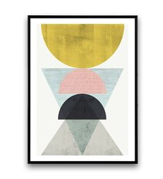 Abstract poster geometrische art minimalistische door Wallzilla