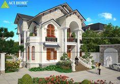 Thiết kế biệt thự Pháp 2 tầng đẹp lung linh với phong cách tân cổ điên.