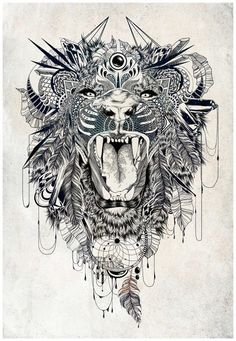 #Lion #Feathers #DreamCatcher #Detail #Amazing #Tattoo