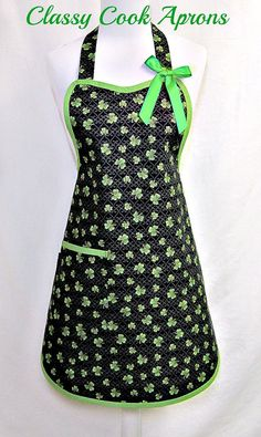 Apron LUCK of the IRISH, Shamrocks for St. PATRICK'S Day, GREEN & GOLD on BLACK, Elegant Party Hostess Kitchen Gift by ClassyCookAprons, $36.50