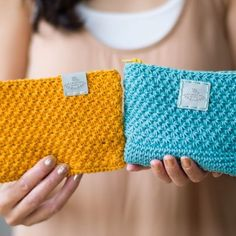 """I'm so excited to show you these TWO """"Star Stitch Pouches"""" that I've been working on using @LionBrandYarn 's 24/7 Cotton! 💖 They're such a beautiful way to hold your essentials! ✨ I'm doing final edits on the free pattern and blog post now!  What do you think?  Aren't these colours just 👌? {Blush & Rose Gold watch by @bergandbetts }"""