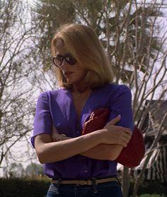 "Lauren Hutton in ""American Gigolo"" - purple top, geranium purse"
