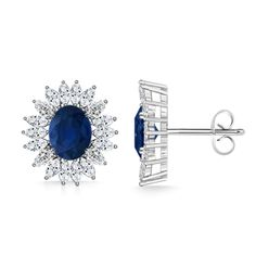 Diamond Floral Border and Oval Sapphire Earrings - I Love Saving Cash on Womens Fashion