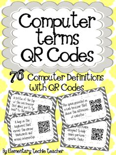 Computer Terms QR Codes from Elementary Techie Teacher on TeachersNotebook.com (41 pages)  - This file contains 76 Computer Terms with QR Codes. Each card measure 5.25 x 8 and includes a definition and QR code. When the students scan the code, using a QR reader on a phone or iPad the word that matches that definition will appear.