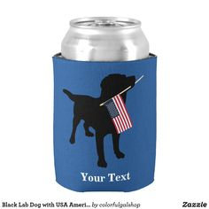 Black Lab Dog with USA American Flag of July Can Cooler - Labrador Retrievers - train them right and you have a friend for life. Black Labs Dogs, Black Labrador Retriever, Labrador Retrievers, Dog Silhouette, National Flag, Dog Bowtie, Dog Design, Hand Warmers, Independence Day