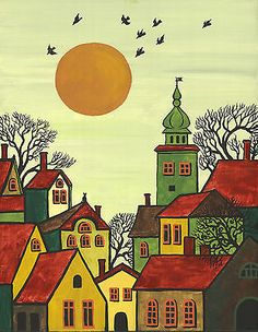 PRINT OF ABSTRACT FOLK ART PAINTING RYTA TREES HOUSES BLACK CAT WHIMSICAL ACEO