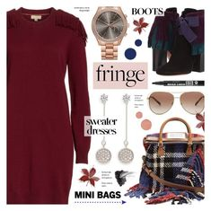 """""""Fringe Sweater Dress & Mini Bag - Fall Trends"""" by anyasdesigns ❤ liked on Polyvore featuring Treasure & Bond, Etro, Maison Margiela, CZ by Kenneth Jay Lane, Michael Kors, RGB Cosmetics, Pat McGrath, Smith & Cult and Bourjois"""