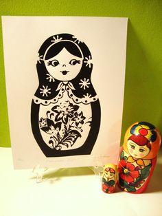 CYBER MONDAY Matryoshka Doll Screenprint via Etsy