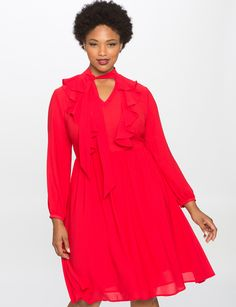 Tie Neck Soft Ruffle Dress | Women's Plus Size Dresses | ELOQUII