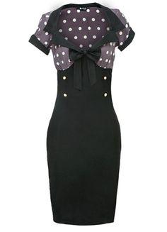 "Stunning ""Lady Vintage"" Taupe & White Polka Dot 50s Style Wiggle Dress. Sizes 8-22. £30.00"