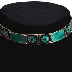 David Andersen Guilloche Teal and Black Enamel Modernist Statement Necklace Designer Vintage. $325.00, via Etsy.