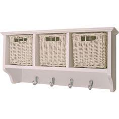 estante pared en madera lacada en blanco con cajones de mimbre comprar venta online h003b