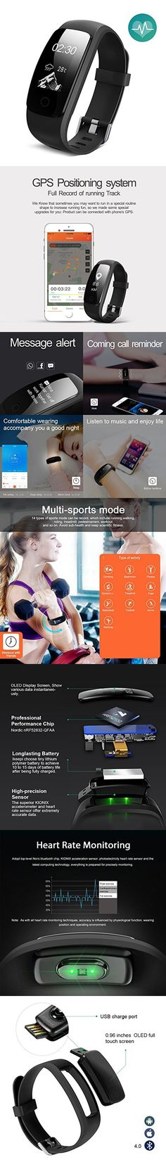 Ikeepi Fitness Tracker Heart Rate Monitor Multi Sport Modes Pedometer Sleep Monitor Waterproof for Android and Iphone Phones